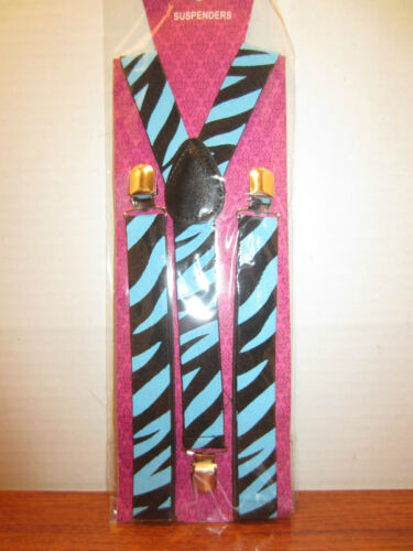 SUSPENDERS BLUE  AND BLACK ZEBRA PRINT ON THEM  PUNK ROCK EMO GOTHIC