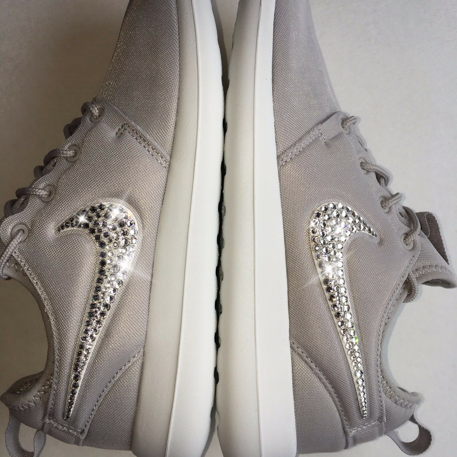 Bling Nike Roshe Two shoes w  Swarovski Crystals  Grey & White Bedazzled Swoosh