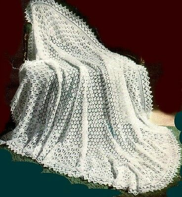 """Baby's Lace Shawl Knitting Pattern Gorgeous """"Mountain Maid""""  3ply  854"""