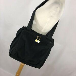 Donna-Karan-New-York-Shoulder-Bag-Commuter-Lg-Purse-Black-Thick-Nylon-Pockets-P
