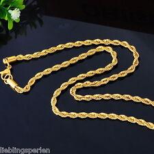 5 Herren Damen Vergoldet Edelstahl Kordelkette Halskette Collier 4mm 56cm