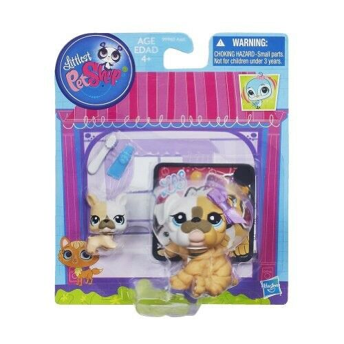 Littlest Pet Shop Bulldog Mommy And Baby Play Set Brand New 5587 5588