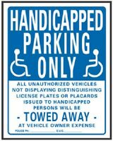 (10) Hy-ko 703 19 X 15 Plastic Blue & White Handicapped Parking Only Signs