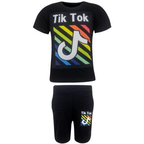 Jungen Tik Tok T-Shirt Shirt kurzarm Kurzarmshirt Short Hose Sommerset Schwarz