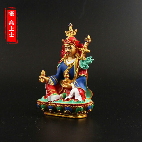 Tibetan Buddhism Hand painting resin statue Car decoration Padmasambhava  A17