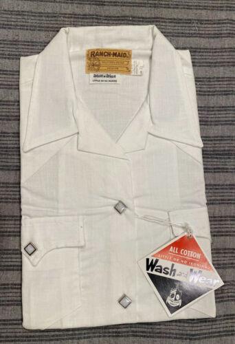 VTG 50s 60s Western Shirt Short Sleeve White Cotto
