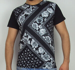 Flower-Bandana-T-Shirt-Blumen-Shirt-Swag-Hipster-NWA-Compton-Rap-Sixth-June