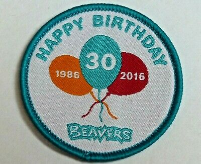Beaver Scouts Happy Birthday 30 years 1986-2016 2cm pin badge