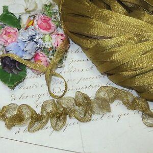 1y ANTIQUE GOLD MESH METAL RUCH TRIM THREAD BULLION RIBBON VESTMENT DOLL DRESS