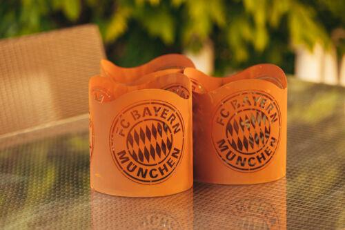 2x FC Bayern München Windlicht aus Metall FCB Fussball Fackel Feuerkorb