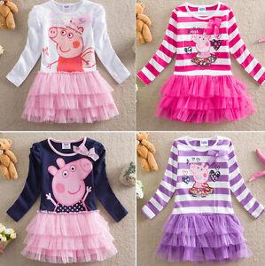 NEU Kinder Mädchen Peppa Wutz Party Tutu Tunika Kleid Langarm T-shirt Gr. 92-122