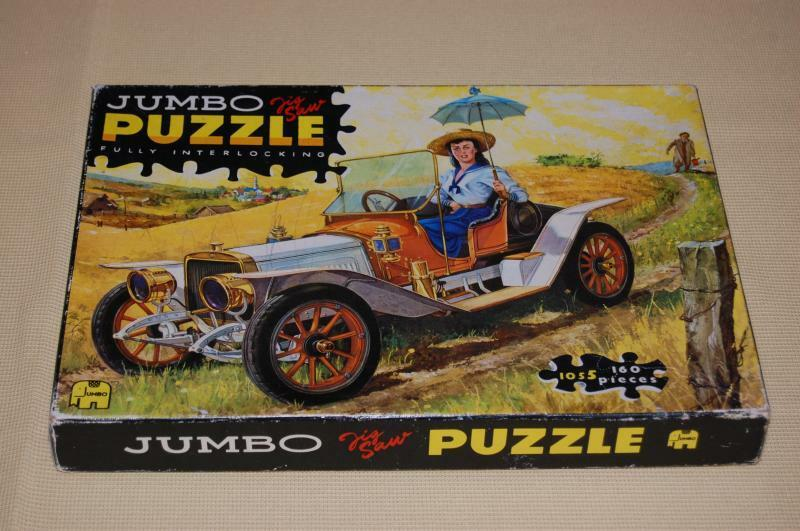 Vintage 70s Jumbo Jigsaw Puzzle Lady Oldtimer Antique  auto Artist Robert Pettes  salutare