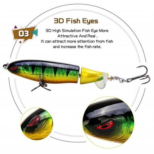 Fishing Lure Topwater Floating Whopper Plopper Rotating Tail Up Water Crankbait