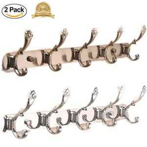 Wall Mount Holder Coat Hat Hanger Rack Bag Key Hook Organizer 2 PCS