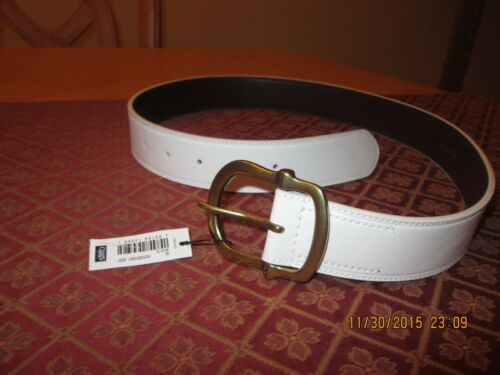 CHAPS WOMEN/'S SIZE SMALL WHITE CONTURED BELT WITH GOLD BUCKLE NEW