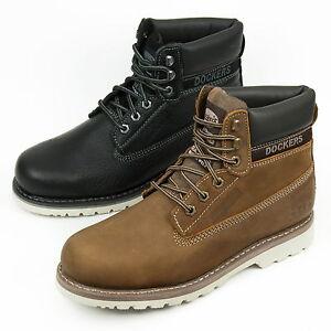 DOCKERS-Herren-Boots-Leder-Schuhe-Schnuerstiefel-33CR001