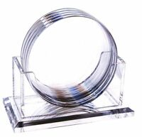 Huang Acrylic 4 Round 4-coaster Set W/ Holder (clear), New, Free Shipping