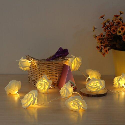 2.5m Rose Blumen mit 20 LEDs Weihnachten Lichterketten Wohnzimmer Ketten Deko#