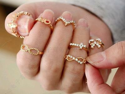 7pcs Popular MINI Crystal Bowknot Knuckle Midi Mid Finger Tip Stacking Ring Set