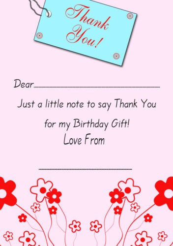 20 x Girls Birthday Thank You Notes Tag Party Thank You A5 Write your own