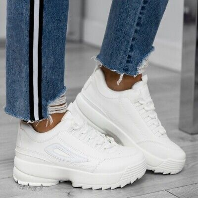Women/'s Trainers Sport Lace Up High Ladies White Shoes Sneakers UK 3-8