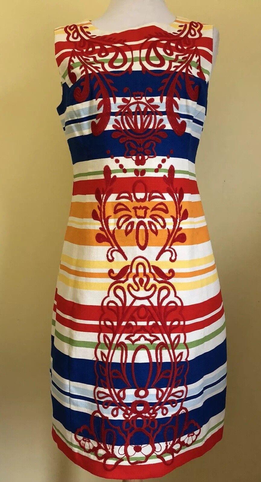 Tabitha Anthropologie Womens Dress Sleeveless Stripe Sz 4 Red Embroidered bluee