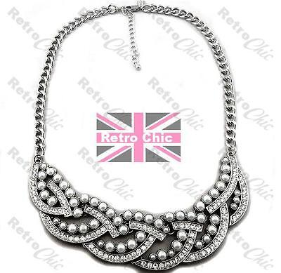 QUALITY NEXT PEARL&CRYSTAL collar NECKLACE silver fashion white gold RHINESTONE