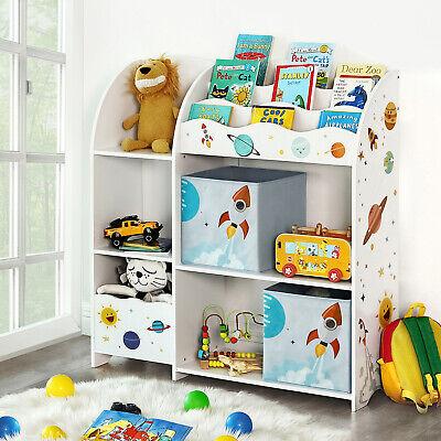 wei/ß GKR42WT B/ücherregal f/ür Kinder Kinderzimmer SONGMICS Kinderzimmerregal multifunktionale Ablage mit 2 Aufbewahrungsboxen Sticker mit Weltall-Motiven Spielzeug-Organizer Schlafzimmer