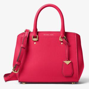 NWT-Michael-Kors-Benning-Medium-Leather-Satchel-Deep-Pink-25-off-next-order