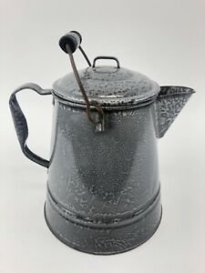 Large-Antique-Vintage-Gray-Graniteware-Cowboy-Coffee-Pot-with-Wire-Bail-Handle