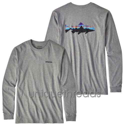 Gravel Heather Fitz Roy Trout Long-Sleeved Cotton T-shirt Patagonia Mens