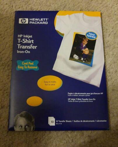 New HP Hewlett Packard Inkjet T-Shirt Transfer Iron-On Sheets Set of 10