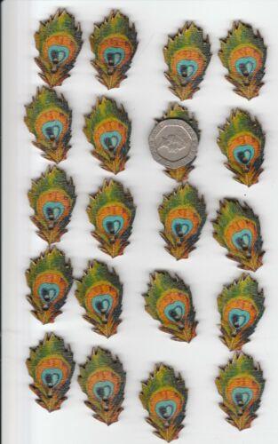 20 en Bois Boutons Artisanat Peacock Feathers