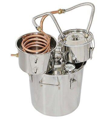 18L Copper Water Distiller Home Brew Spirit Still Stainless Boiler+Thumper Keg
