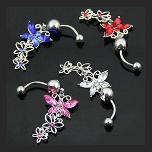 Piercing-Nombril-A-Chirurgical-PAPILLONS-Cristal-bleu-rose-bijoux-fantaisie