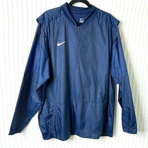 Nike-Mens-1-4-Zip-Pullover-Navy-Rain-Windbreaker-Vented-Golf-Jacket-Size-2XL-XXL