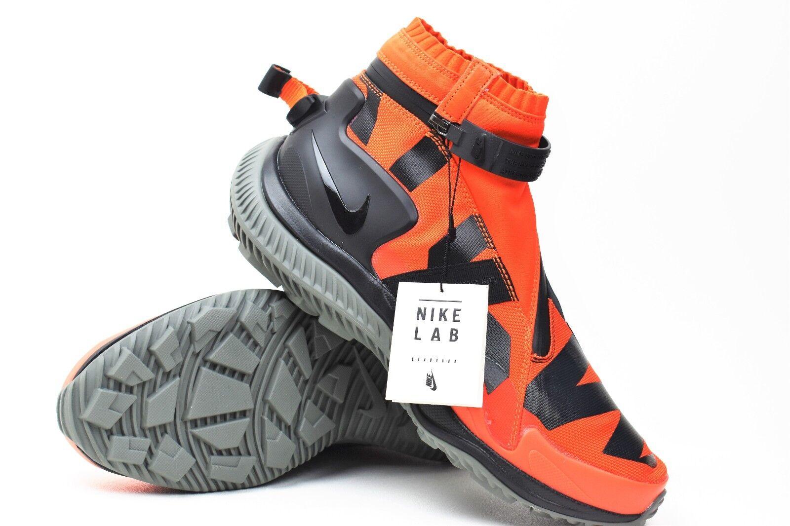New Nike NIKELAB X NSW Gaiter Boot Size 9.5 orange Black Tum Grey AA0530-800