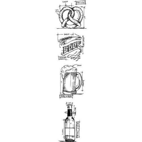 "Beer MB 29 Tim Holtz Mini Blueprints Strip Cling Stamps 3/""x10/"""