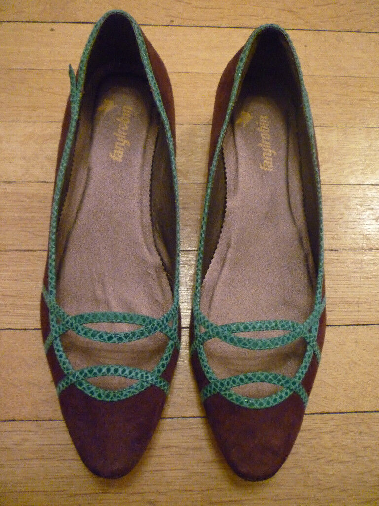 NIB: FARYL ROBIN Brown Suede w/ Turquoise Trim Shoes 11