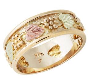 14K-Black-Hills-Gold-Ladies-Wedding-Ring-with-12K-Leaves-Size-4-11