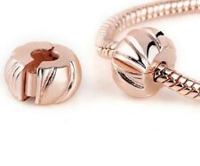 ROSE GOLD PLATED PUMPKIN CLIP STOPPER CHARM BEAD FOR BRACELET OR NECKLACE