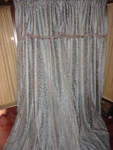 CONCORD LINED BLUE (2PC) POLE TOP PANELS DRAPERY SET CRYSTAL VALANCE 50X84