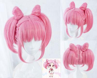 Sailor Moon Sailor Chibi Moon Chibiusa Rini Pink Cosplay Costume Wig +Wig Cap