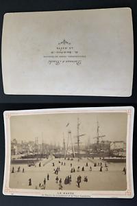 France-Le-Havre-bassin-du-Commerce-et-la-place-Gambetta-Vintage-albumen-print