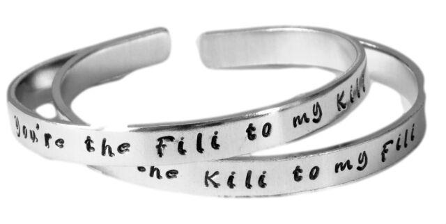 The Hobbit Inspired - Fili to My Kili & Kili to My Fili - A Pair of Hand Stamped