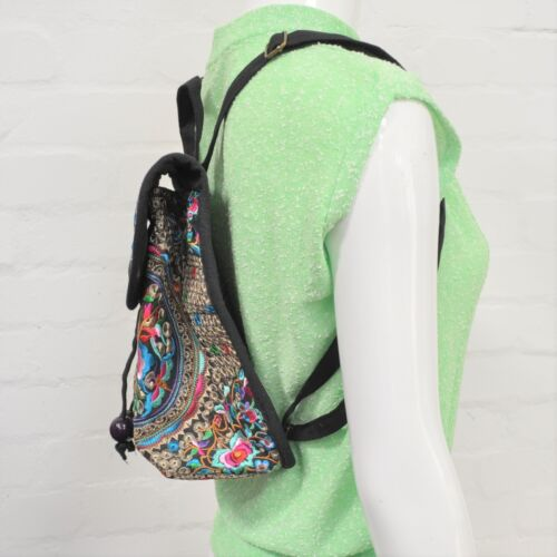 Jewel Toned Embroidered Mini Backpack Eastern Inspired Floral 90s Festival Holid