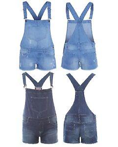 Women Ladies Girls Cute Denim Dangri Shorts Light Blue
