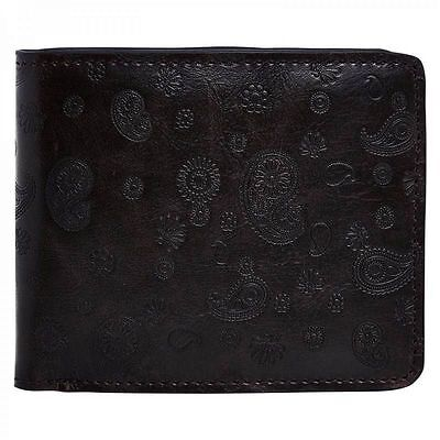 MERC LONDON FASHION LEATHER PAISLEY FASHION RETRO MOD WALLET WALSH BLACK