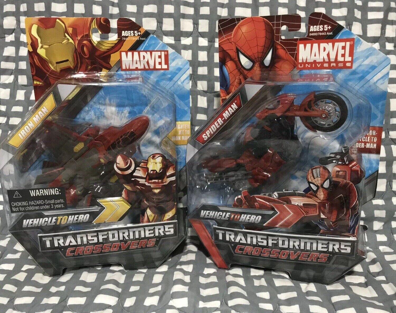 Transformers Crossovers Ironuomo Jet Spider-uomo bicicletta Lot  Marvel Avengers Hero