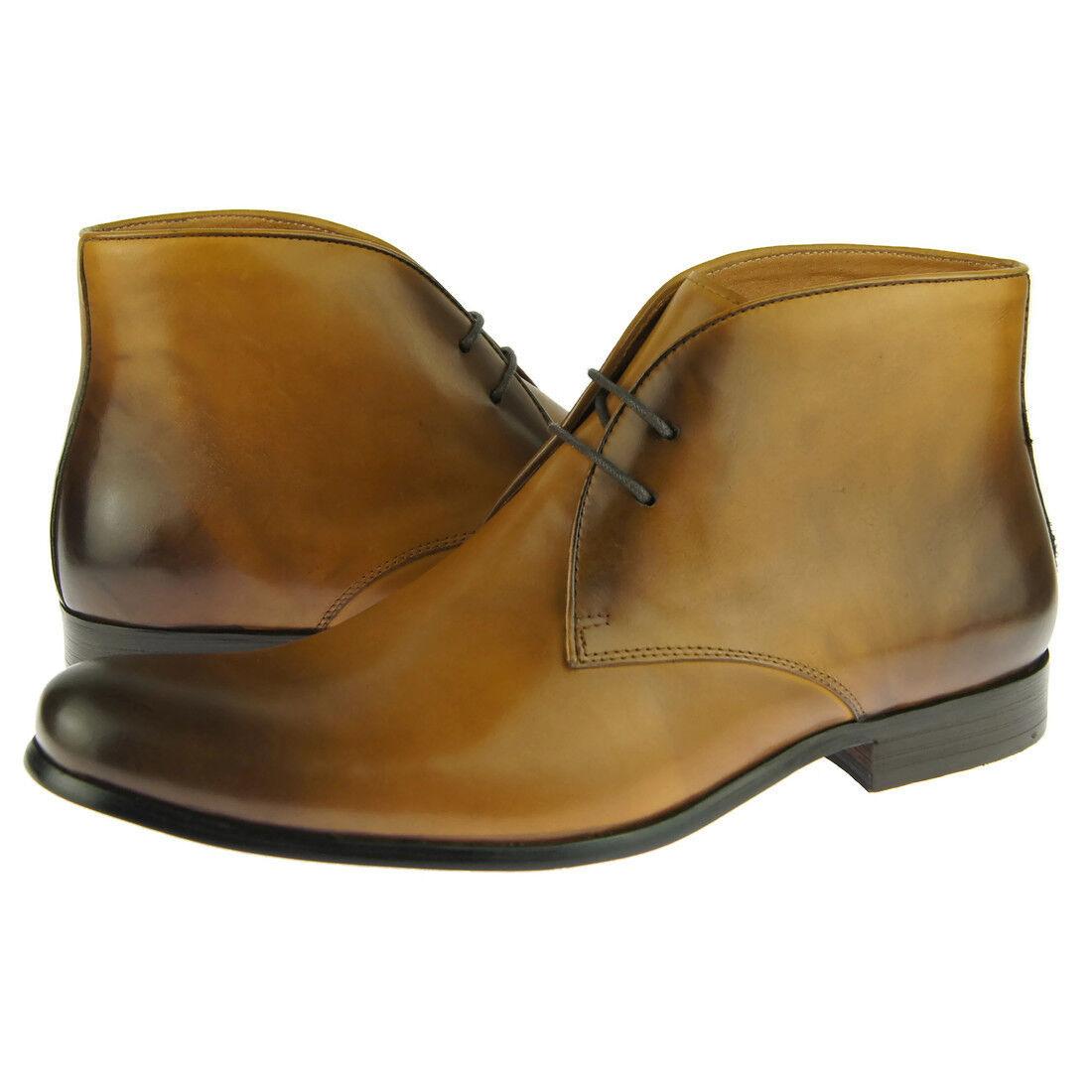 Carrucci Men's Chukka, Leather Ankle Boots, Cognac